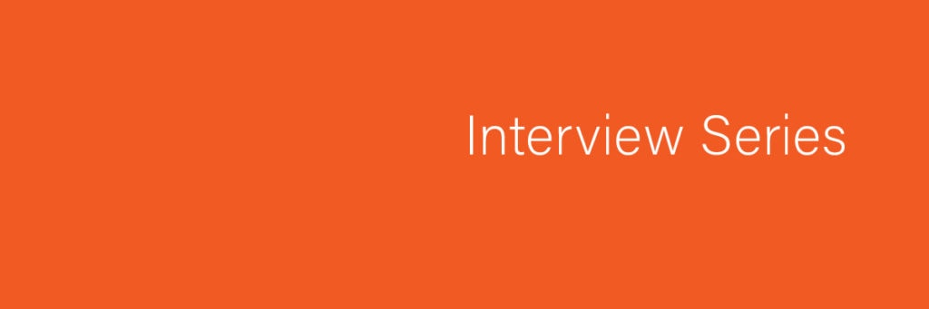 Plain orange banner with the words Interview Series